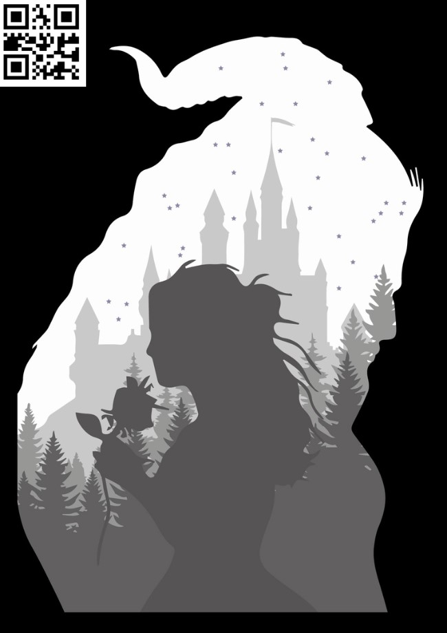 Beauty and the Beast light box E0012617 file cdr and dxf free vector download for laser cut