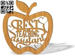 Best teaching assistant apple E0012639 file cdr and dxf free vector download for laser cut
