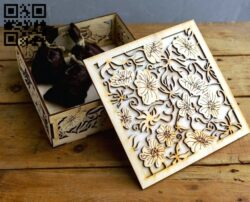 Box with flowers E0012898 file cdr and dxf free vector download for laser cut