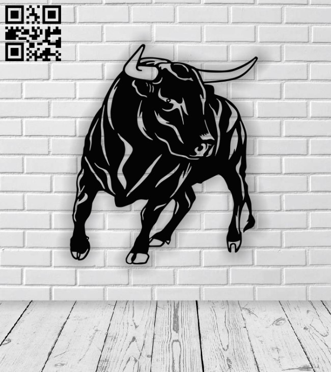 Bull panel E0012896 file cdr and dxf free vector download for laser cut