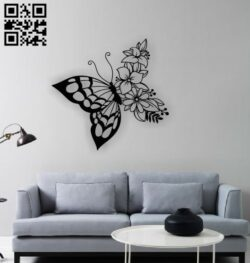 Butterfly with flowers E0012607 file cdr and dxf free vector download for laser cut plasma