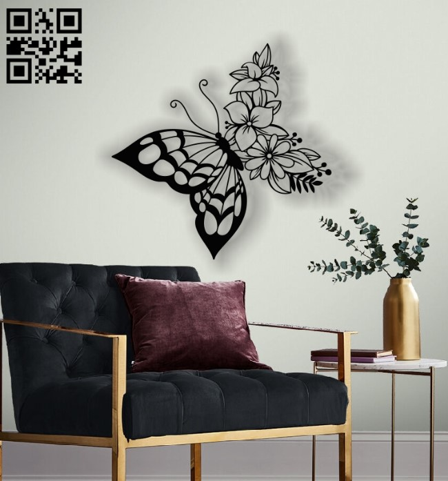 Butterfly with flowers E0012766 file cdr and dxf free vector download for laser cut plasma