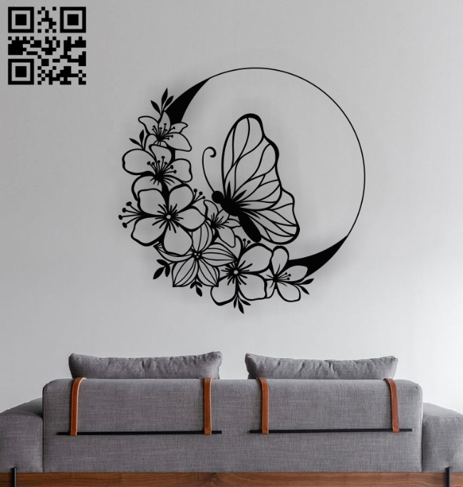 Butterfly with moon E0012606 file cdr and dxf free vector download for laser cut plasma