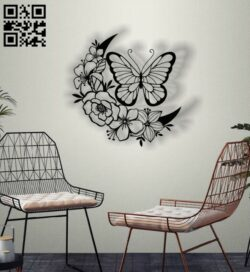 Butterfly with moon E0012767 file cdr and dxf free vector download for laser cut plasma