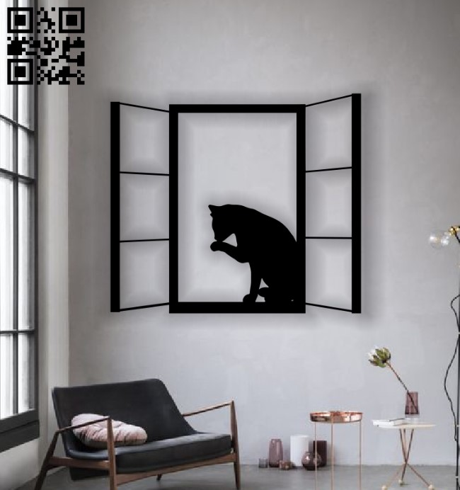 Cat on the window E0012904 file cdr and dxf free vector download for cnc