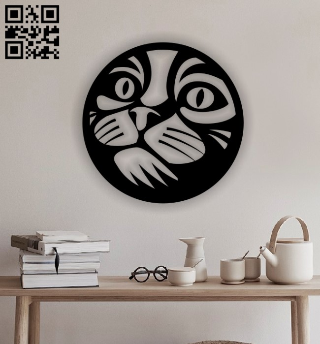 Cat with circle E0012893 file cdr and dxf free vector download for laser cut plasma