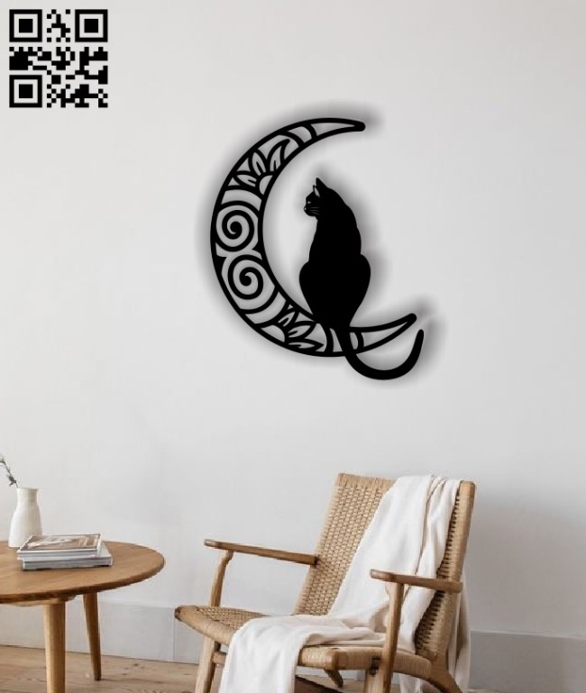 Cat with moon E0012725 file cdr and dxf free vector download for laser cut