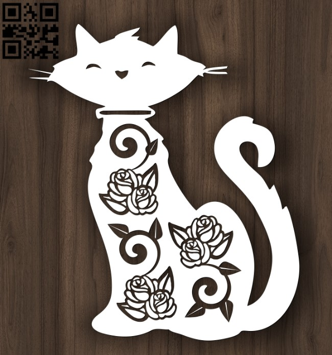 Cat with roses E0012608 file cdr and dxf free vector download for laser cut