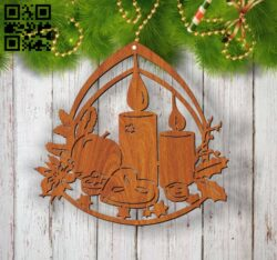 Christmas decoration E0012667 file cdr and dxf free vector download for laser cut