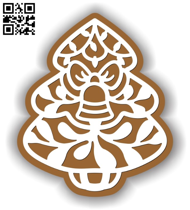 Christmas gingerbread E0012591 file cdr and dxf free vector download for laser cut