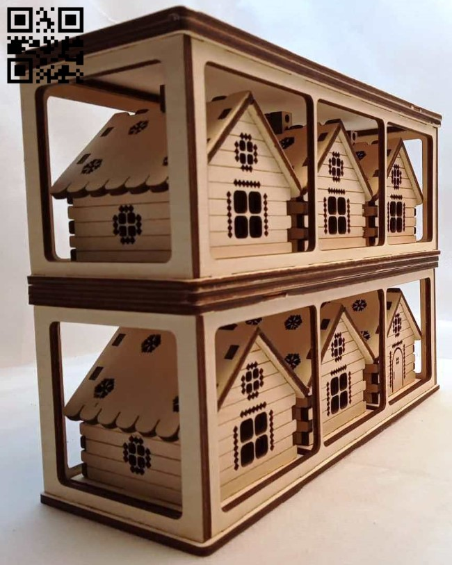 Country houses in a box E0012710 file cdr and dxf free vector download for laser cut