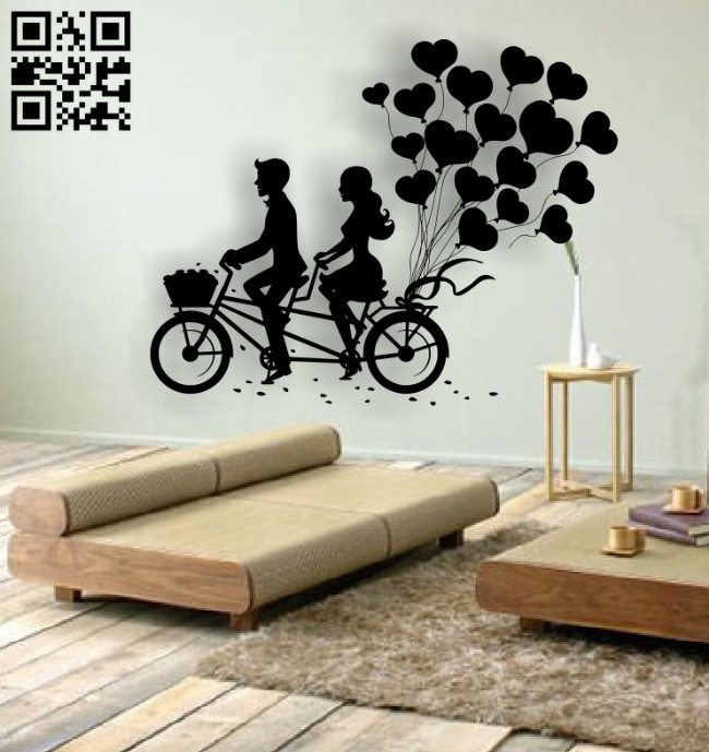 Couple with bicycle E0012886 file cdr and dxf free vector download for laser cut