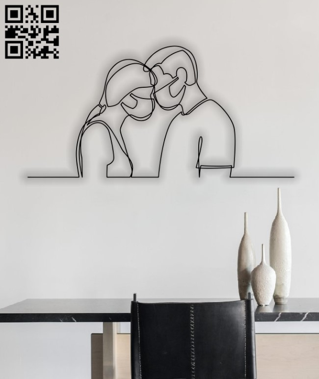 Couple with masks E0012581 file cdr and dxf free vector download for laser cut plasma
