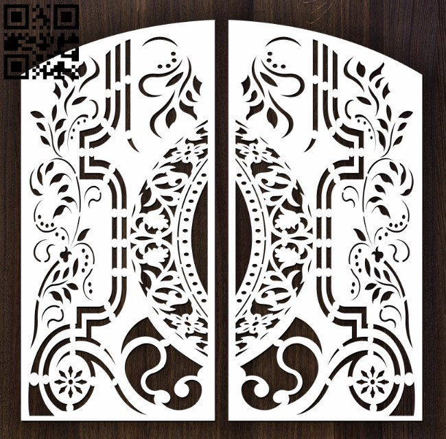 Design pattern door E0012632 file cdr and dxf free vector download for laser cut