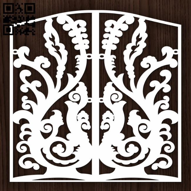Design pattern door E0012908 file cdr and dxf free vector download for laser cut cnc