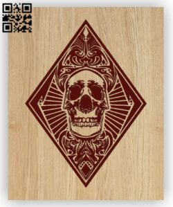 Diamond Card with skull E0012776 file cdr and dxf free vector download for laser engraving machines