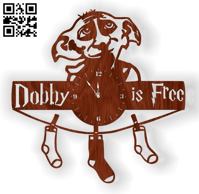 Dobby wall clock E0012922 file cdr and dxf free vector download for laser cut