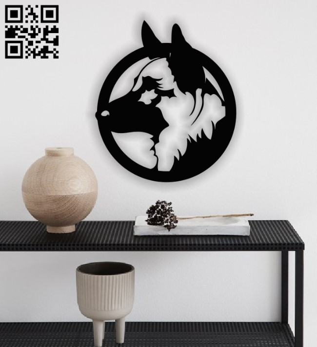 Dog with circle E0012905 file cdr and dxf free vector download for laser cut