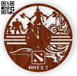 Dota wall clock E0012921 file cdr and dxf free vector download for laser cut
