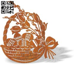 Easter basket E0012744 file cdr and dxf free vector download for laser cut