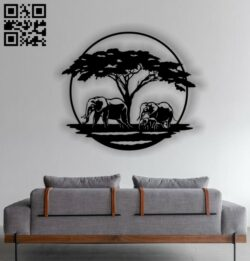 Elephant family panel E0012782 file cdr and dxf free vector download for laser cut plasma