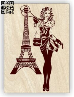 Girl with Eiffel E0012913 file cdr and dxf free vector download for laser engraving machines