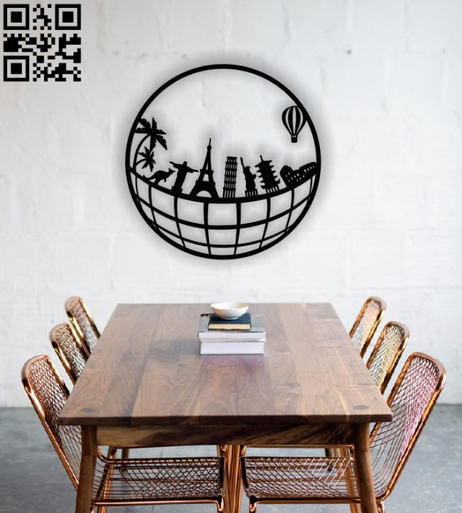Globe with symbols of cities E0012640 file cdr and dxf free vector download for laser cut plasma