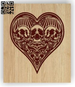 Heart Card with skull E0012775 file cdr and dxf free vector download for laser engraving machines