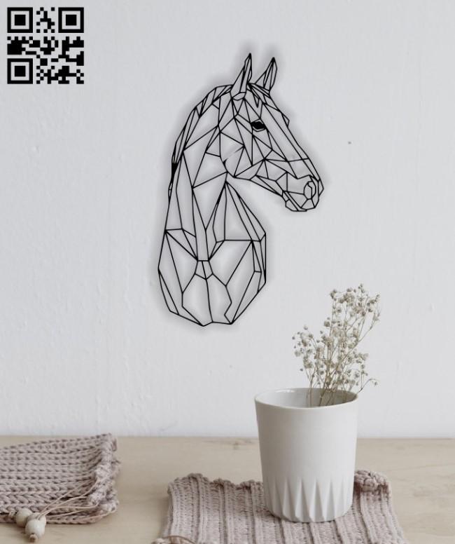 Horse mural E0012837 file cdr and dxf free vector download for laser cut