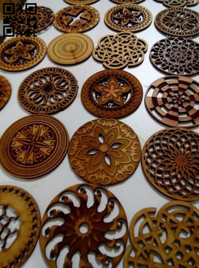 Hot coasters E0012696 file cdr and dxf free vector download for laser cut