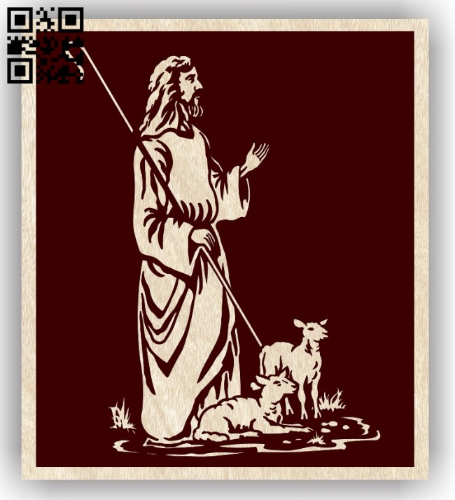 Jesus with lambs E0012915 file cdr and dxf free vector download for laser engraving machines