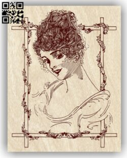 Lady with frame E0012833 file cdr and dxf free vector download for laser engraving machines