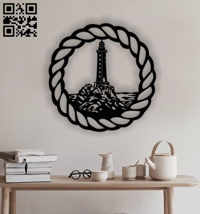 Lighthouse panel E0012850 file cdr and dxf free vector download for laser cut