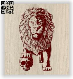 Lion with skull E0012594 file cdr and dxf free vector download for laser engraving machines
