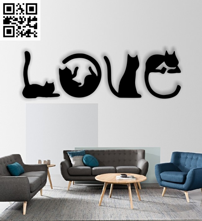 Love cat E0012848 file cdr and dxf free vector download for laser cut