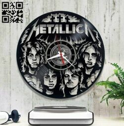 Metallica band clock E0012859 file cdr and dxf free vector download for laser cut