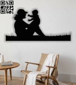 Mother and son painting E0012638 file cdr and dxf free vector download for laser cut plasma