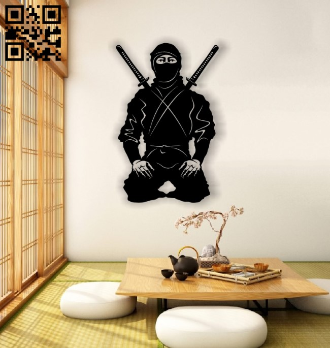 Ninja mural E0012739 file cdr and dxf free vector download for laser cut plasma