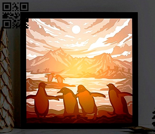 Penguin light box E0012937 file cdr and dxf free vector download for laser cut