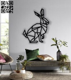 Rabbit mural E0012806 file cdr and dxf free vector download for laser cut