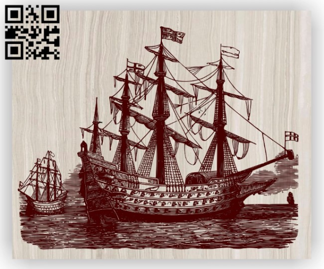 Ship E0012912 file cdr and dxf free vector download for laser engraving machines