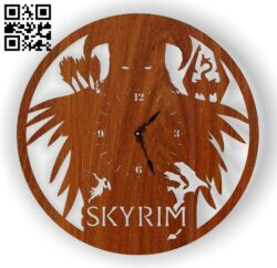 Skyrim wall clock E0012920 file cdr and dxf free vector download for laser cut