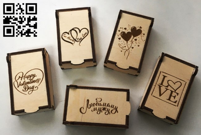 Small box for Valentine's Day E0012707 file cdr and dxf free vector download for laser cut