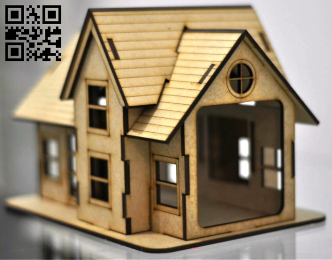 Small house E0012746 file cdr and dxf free vector download for laser cut