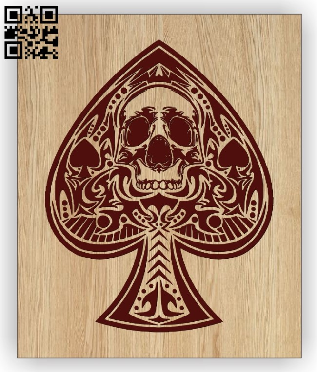 Spade Card with skull E0012774 file cdr and dxf free vector download for laser engraving machines