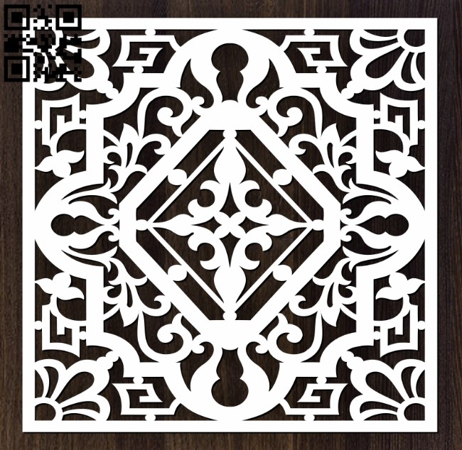 Square decoration E0012629 file cdr and dxf free vector download for laser cut