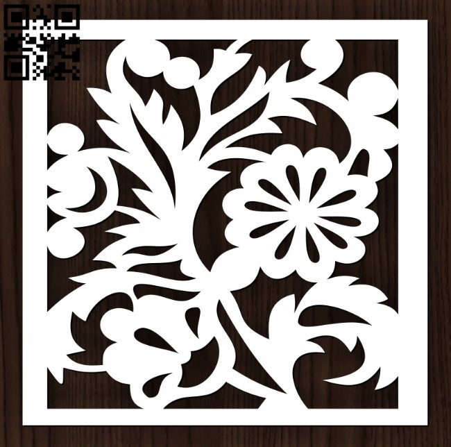 Square decoration E0012631 file cdr and dxf free vector download for laser cut