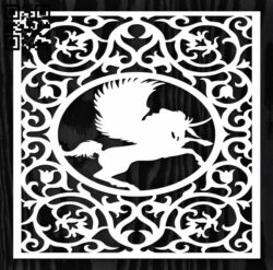Square decoration E0012718 file cdr and dxf free vector download for laser cut