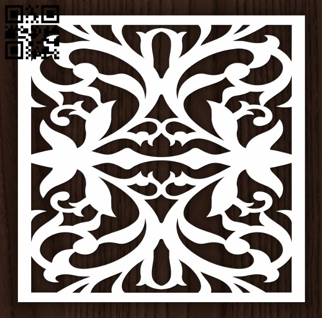 Square decoration E0012799 file cdr and dxf free vector download for laser cut