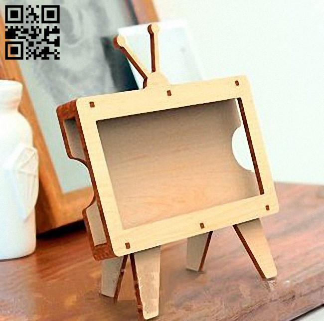 TV Phone Holder E0012588 file cdr and dxf free vector download for laser cut